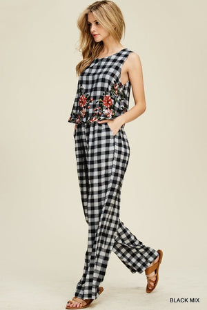 Checkered Jumpsuit black