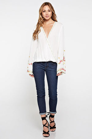 Embroidered Bell Sleeve Top