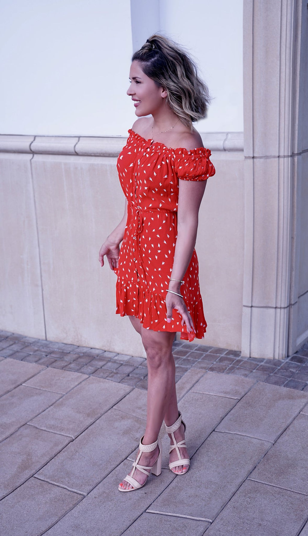 Red Floral Picnic Dress