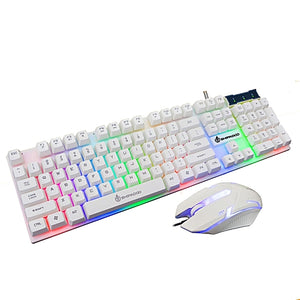 LED Rainbow Backlight Game USB Wired Keyboard Mouse.
