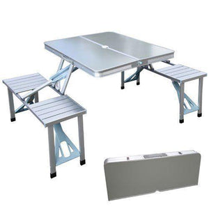 ALUMINUM FOLDING PICNIC TABLE WITH UMBRELLA HOLE AND 4 FOLDING STOOLS