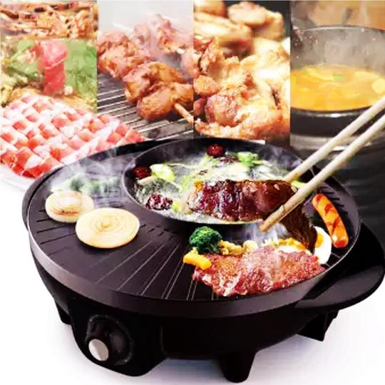 2IN1 KOREAN STYLE ELECTRIC BBQ GRILL SAMGYUPSAL AND SHABU HOT POT
