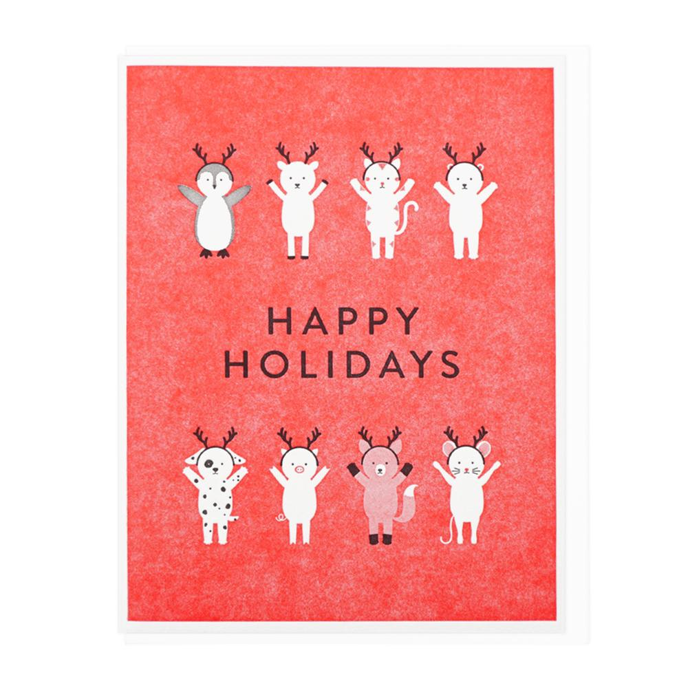 Happy Holidays Antler Friends Card