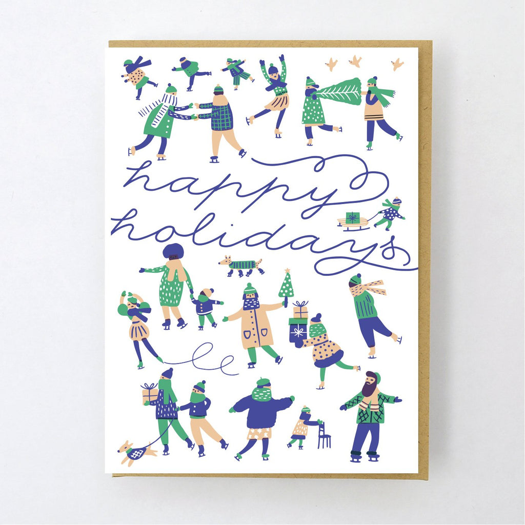 Ice Skaters Holiday Card