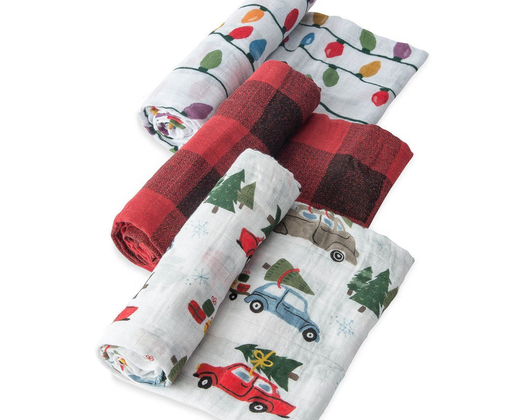 Cotton Muslin Swaddle 3 Pack - Holiday Haul