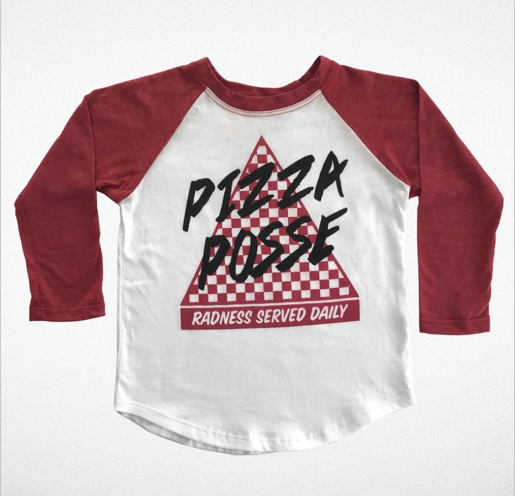 """Pizza Posse"" Long Sleeve Raglan"