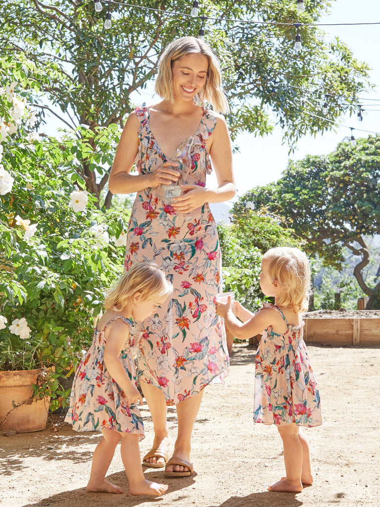 Serafina Mini Ruffle Kids Floral Dress from Le Marché by NP Elaina Bellis