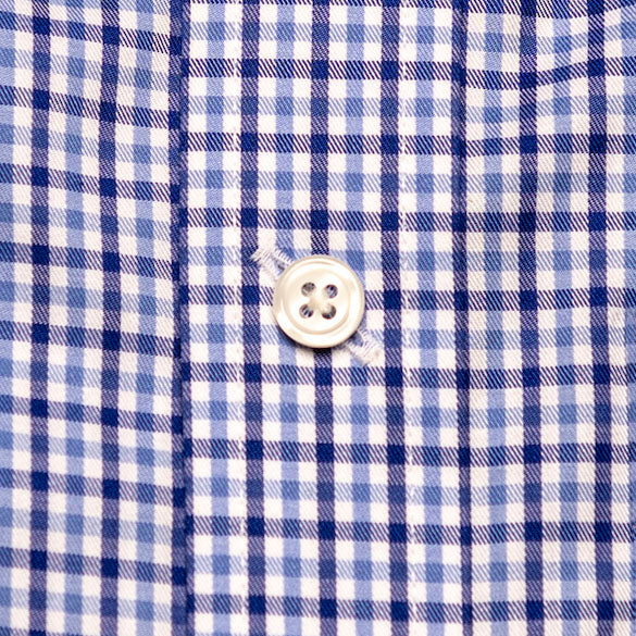Photo detail of a Button-EZ button on a Haddrell's Point Plaid Bowen Arrow Button Down shirt.
