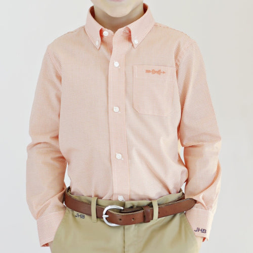 Bowen Arrow Button Down – Oyster Point Orange Gingham