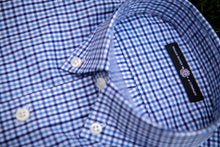 Load image into Gallery viewer, Collar detail of a Haddrell's Point Blue button down shirt.