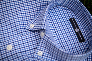 Collar detail of a Haddrell's Point Blue button down shirt.