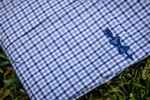 Load image into Gallery viewer, Pocket detail of a Haddrell's Point Blue button down shirt.