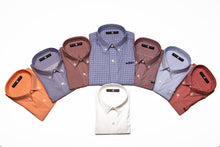 Load image into Gallery viewer, All of the colors, including white, of our Bowen and Arrow Button Down long-sleeve shirts.