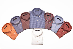 All of the colors, including white, of our Bowen and Arrow Button Down long-sleeve shirts.