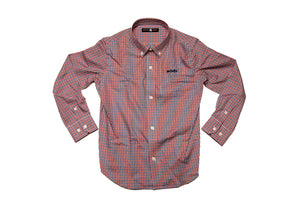 A Patriots Point Plaid (red, white, and blue) button down shirt