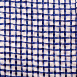 A swatch of Battery Blue Windowpane fabric