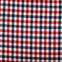 Load image into Gallery viewer, Swatch of Patriot's Point Plaid (red, white, and blue) fabric