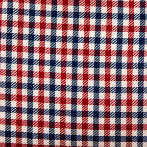 Swatch of Patriot's Point Plaid (red, white, and blue) fabric