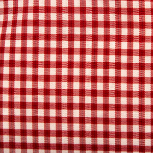 A swatch of Rutledge Red Gingham fabric.