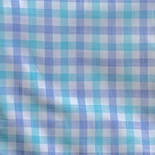 Load image into Gallery viewer, Swatch of Mount Pleasant Plaid, a gingham style plaid of Blue, Aqua, and White.
