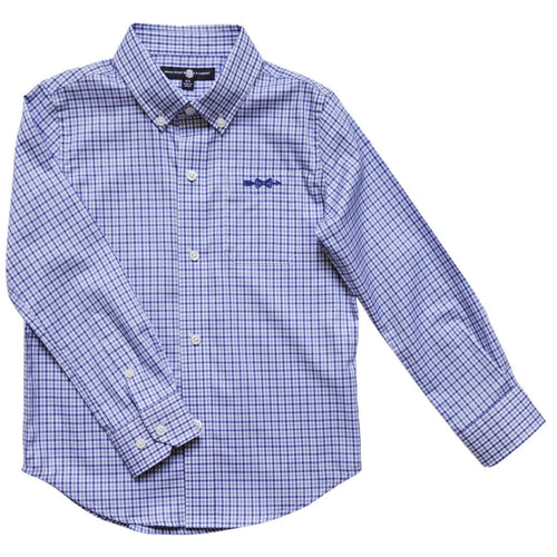boys button shirt plaid with monogram logo