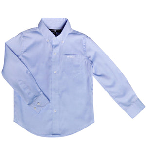 boys button down shirt wrinkle-free light blue