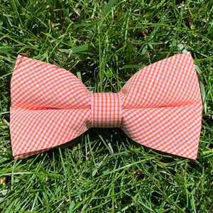 Close-up of Oyster Point Orange Gingham Bowentie.