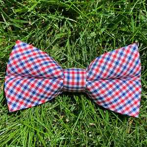 Close-up of Patriot's Point Plaid Bowentie.