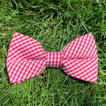 Load image into Gallery viewer, Close-up of Rutledge Red Gingham Bowentie.