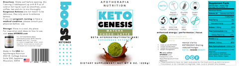 Exogenous Ketones Powder BetaHydroxybutyrate Matcha Choco Latte