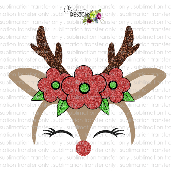 Reindeer with Glitter Flowers *CUSTOMIZABLE* (Sublimation Transfer)