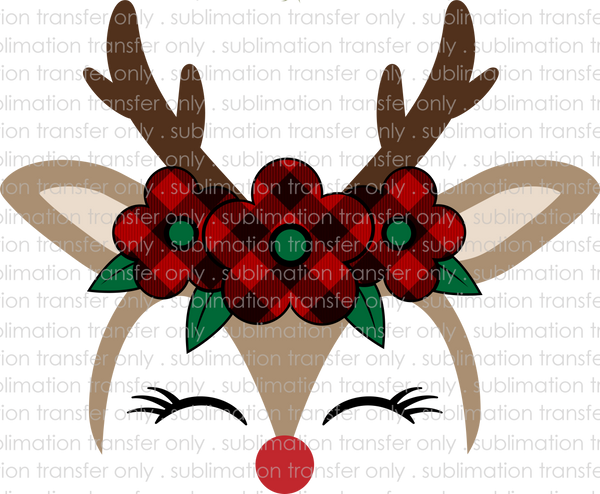 Reindeer with Plaid Flowers *CUSTOMIZABLE* (Sublimation Transfer)