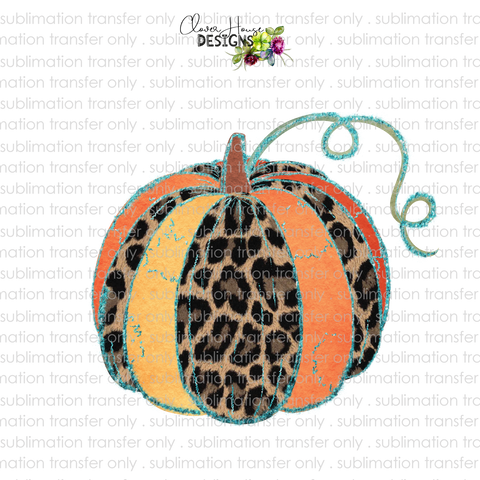 Leopard Teal Pumpkin (Sublimation Transfer)