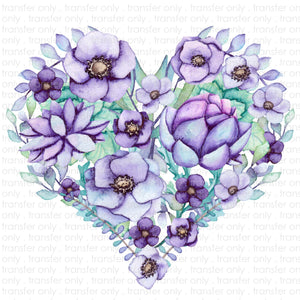 Purple Flower Heart (Sublimation Transfer)