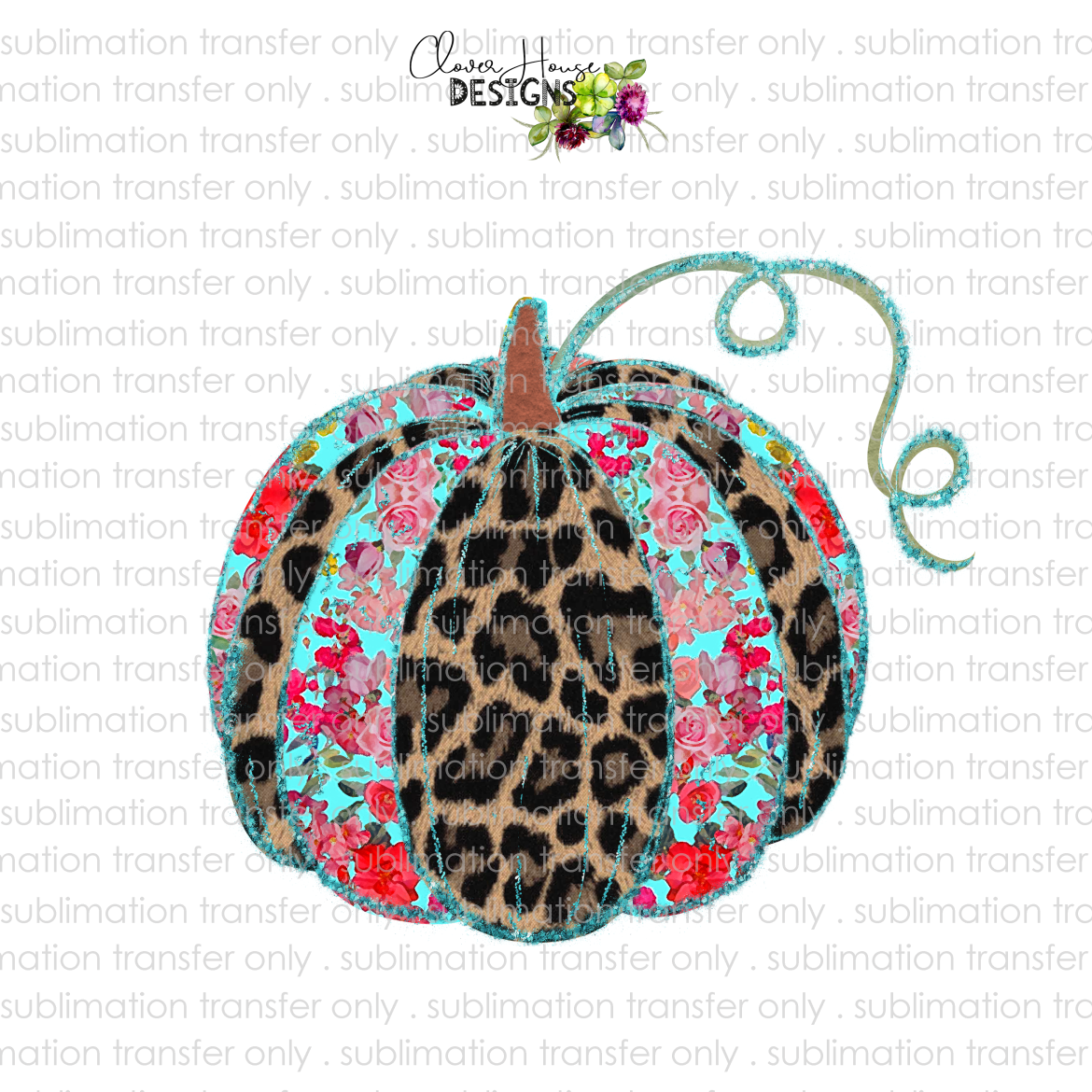 Leopard Floral Pumpkin (Sublimation Transfer)
