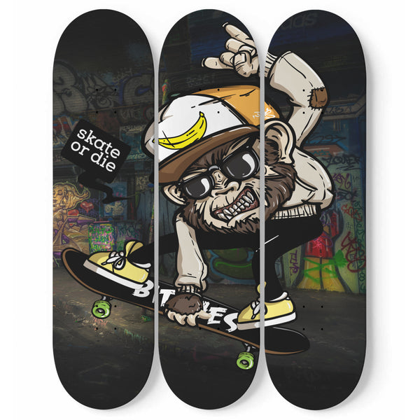 Skateboard Wall Art Custom Made Skateboard 3 Piece Set