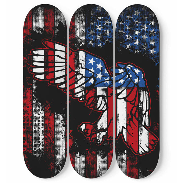 Skateboard USA Eagle Made Into Unique Wall Art Set Of 3 Skate Decks Ready To Hang