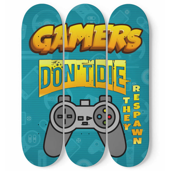 Gamers Wall Art On 3 Piece Skateboard Set