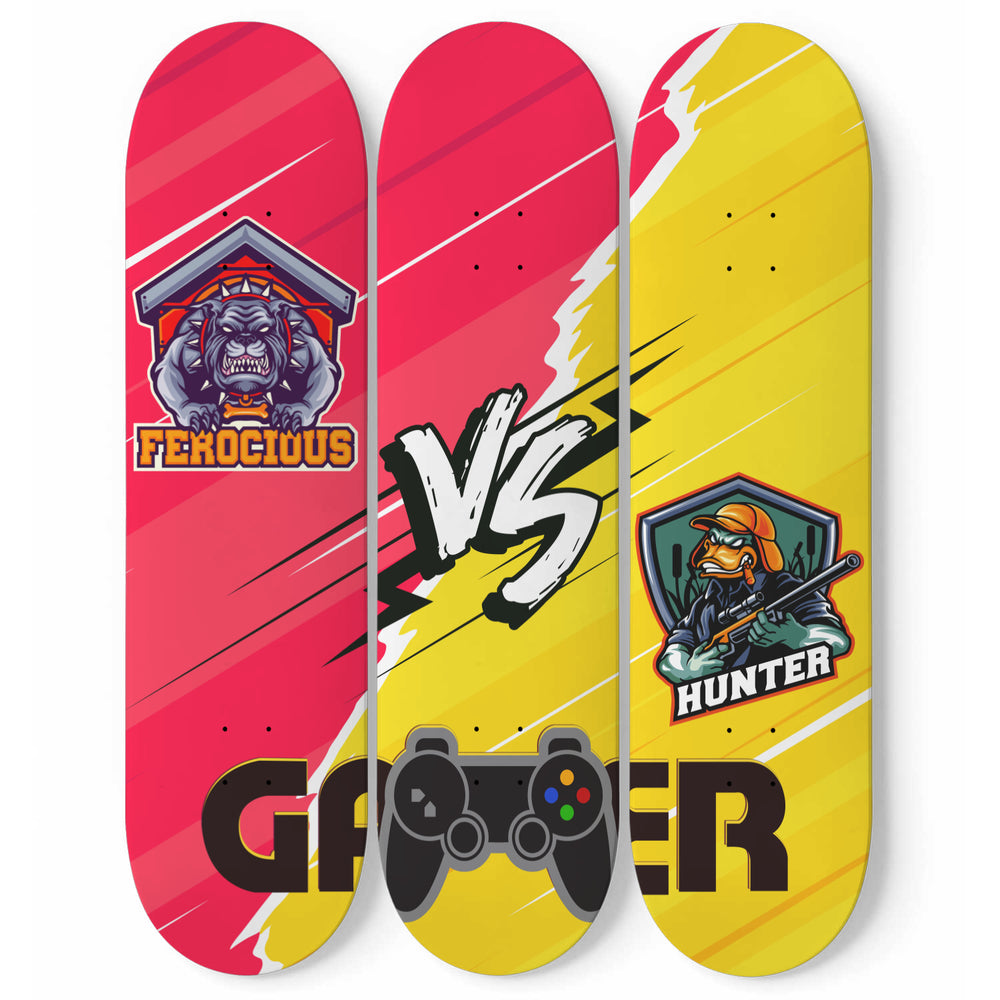 Video Gamer Skateboard Wall Art 3 Piece Set