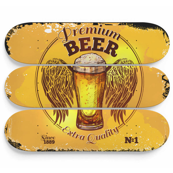 Beer Wall Art Sign On A 3 Piece Skateboard