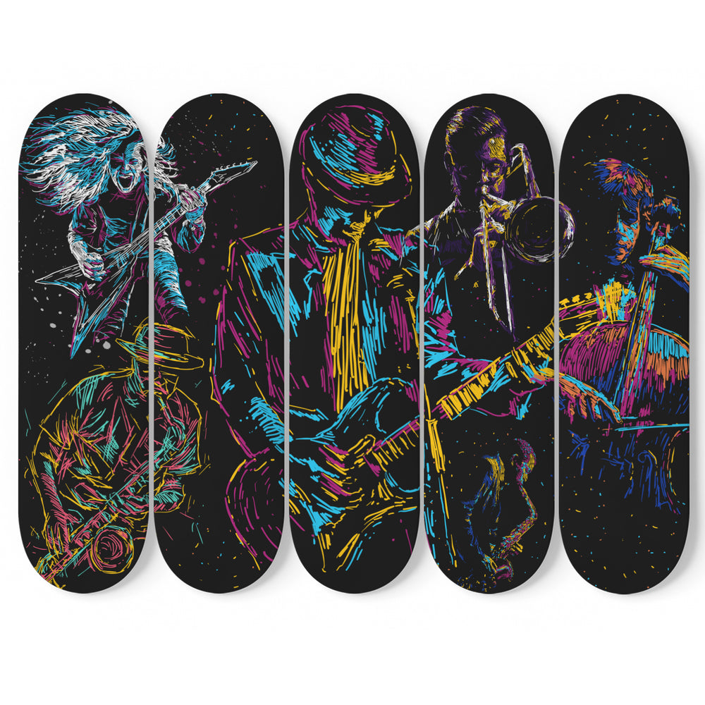 Abstract Musicians Unique Skateboard Art