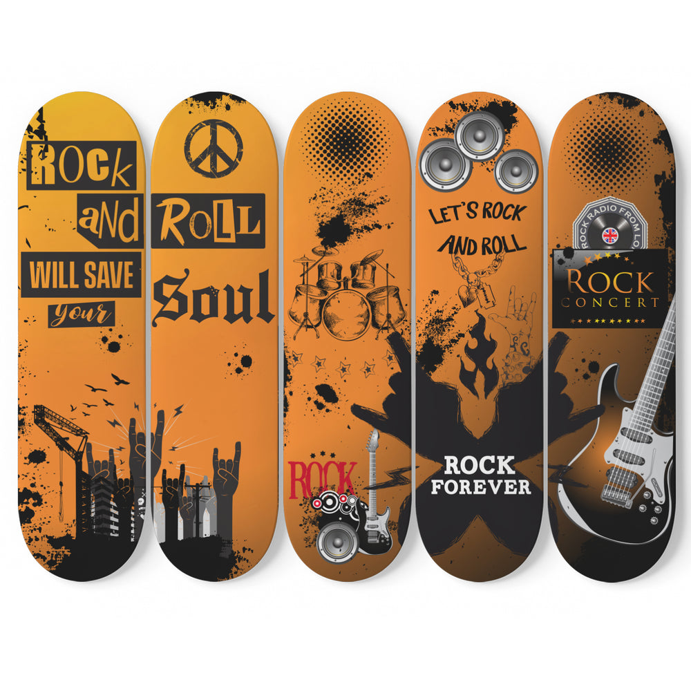 Skateboard Deck Art Rock And Roll