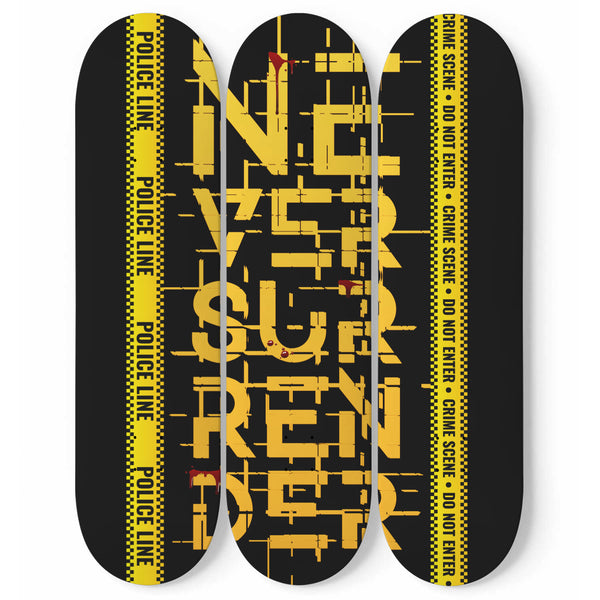 1Skateboard Deck Set Of 3 Boards Never Surrender Wall Art