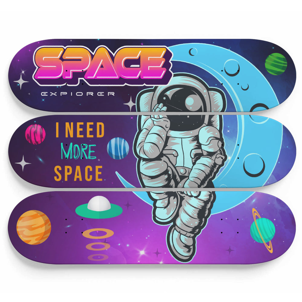 Space Theme 3 Piece Wall Skateboard Art