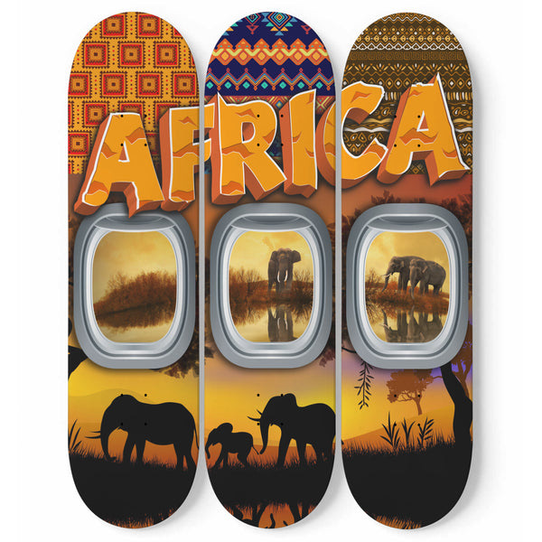 African Wall Art On Skateboards
