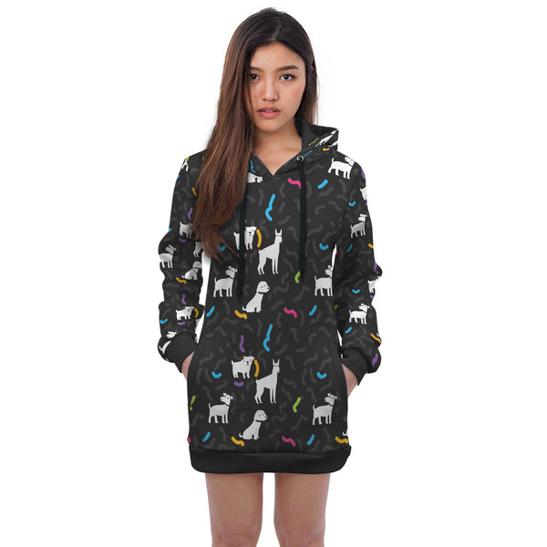 Mini Dress Black Dog Hoodie
