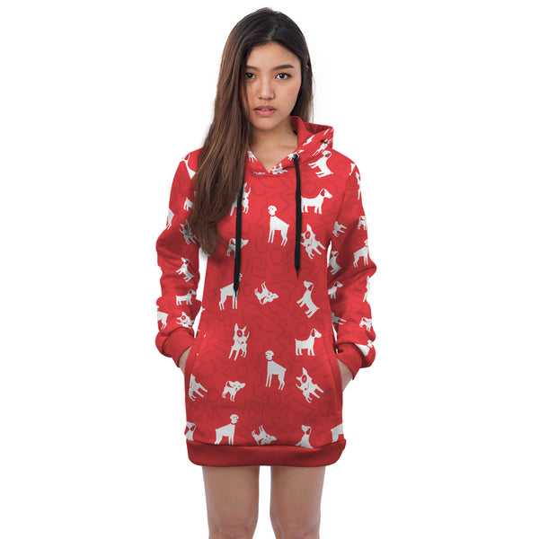 Red Dog Pattern Mini Skirt Hoodie