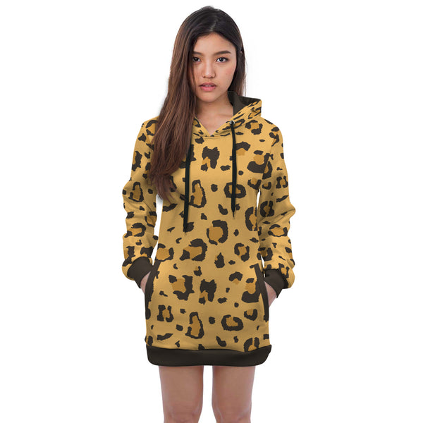 African Cheetah Hoodie Dress
