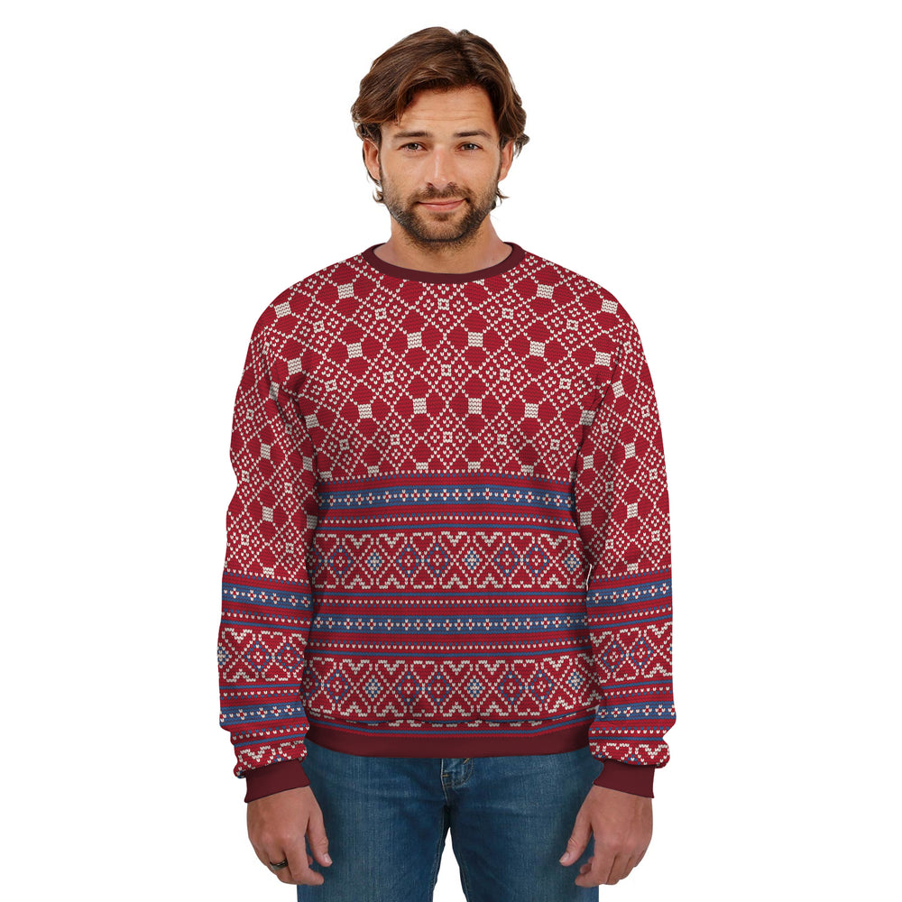 Ugly Christmas Sweater Red With Blue Stripes