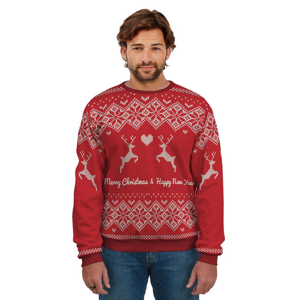 Ugly Christmas Sweater Red Pattern With Reindeer